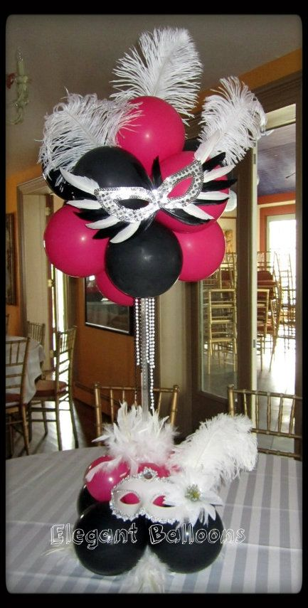 Cute balloon arrangement minus the mask for lauren 39 s sweet for Balloon decoration ideas for sweet 16