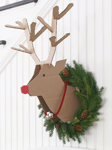 "Recycling Meets Rudolph       Create this playful reindeer project with a couple of corrugated cardboard boxes and our handy template .     •Print out templates on 11x17"" paper.     •Trace the head twice, and the antlers once on corrugated cardboard      Read more: Scandinavian Christmas Decorations - Nordic Christmas Decor - Good Housekeeping"