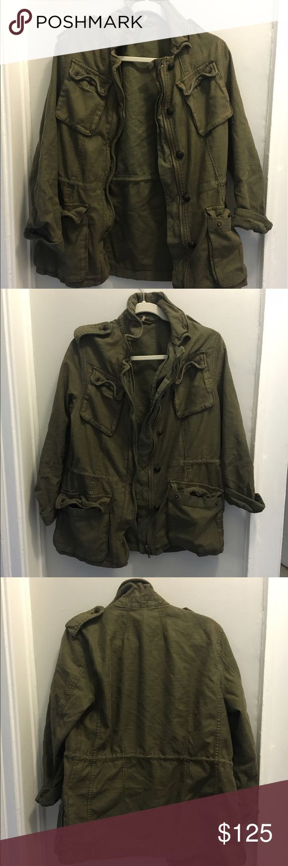 Free People Military Green Jacket Free People military style olive green jacket. Barely worn, in perfect condition! Free People Jackets & Coats