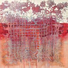 """""""Red Garden Grid"""" by collage artist Judith Bergerson"""