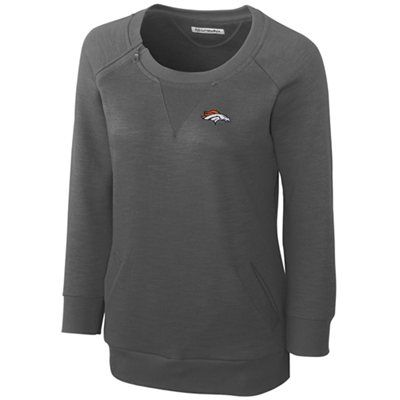 Cutter & Buck Denver Broncos Women's Offside Overknit Three-Quarter Sleeve Sweatshirt - Gray... my style for super bowl sunday