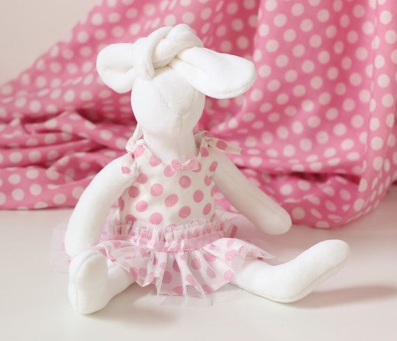 Stuffed Animal Bunny Rabbit Doll with Clothes  by RibizliDesign