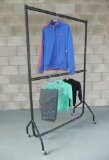 "Heavy Duty Clothes Rail DOUBLE HANGING RAIL 6ft Long x 6ft 6"" High with a height adjustable middle rail"