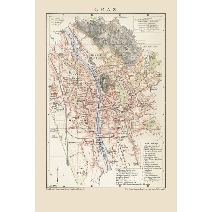 Graz: Vintage City Map printed on a handmade paper.