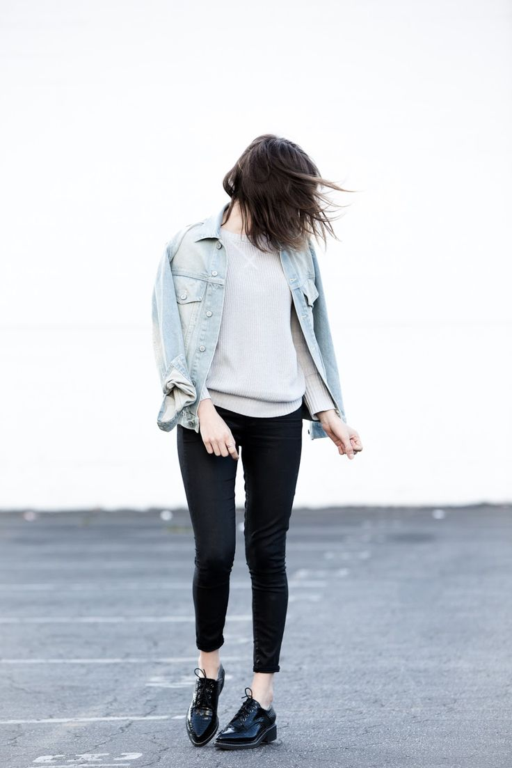 "First Base Knit Sweater, Paige Denim ""Hoxton"" Coated Skinnies, Missguided Croc Brogues (previously here), Brandy Melville Denim Jacket"