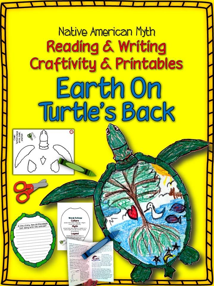 Native American Myth: Earth on Turtle's Back Reading & Writing Craftivity Back to school fall months- Native American literature or social studies unit, Thanksgiving, culture, myths and legends. Includes:-Cover printable/ cut out  -Reading Response printable /cut out  -Words to Know printable /cut out -Read and Draw printable / cut out -Storytelling Writing Prompt (includes primary paper) -Earth on Turtle's Back story printable formatted as a booklet. Fun Stuff. bulletin board.