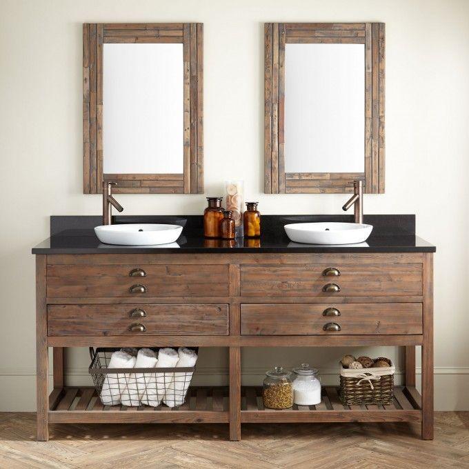 72 Benoist Reclaimed Wood Double Vanity For Semi Recessed Sink