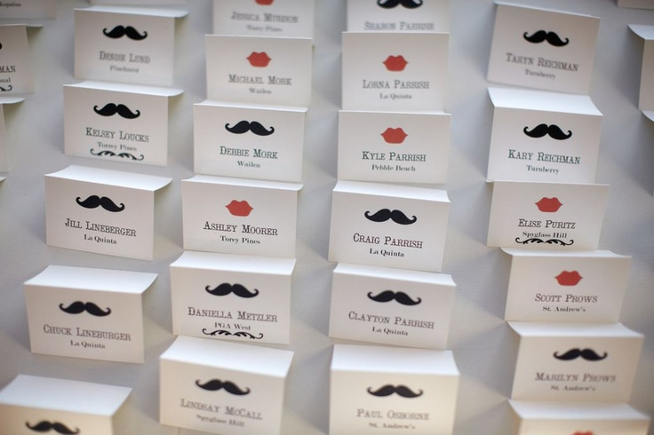 Custom Wedding Place Cards, Mustache and Lips Design, Personalized Escort Card, Professional Tented Table Cards for your Reception. $1,25, via Etsy.