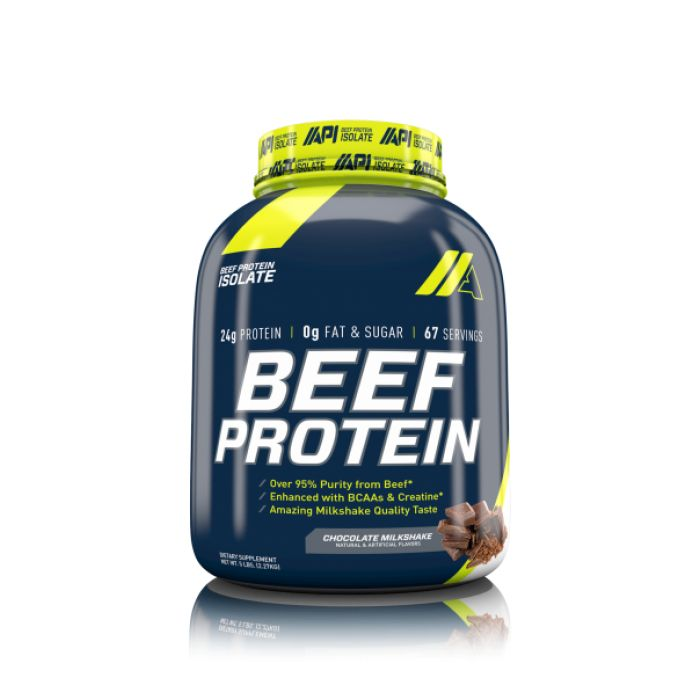 API's BEEF PROTEIN ISOLATE utilizes state of the art technology that extracts, purifies, hydrolyzes, and isolates the beef protein to give it over 95% purity. Beef is a proven strength and muscle builder due to its high amino acid content. BEEF PROTEIN ISOLATE produces a beef high biological value (BV), and a high protein efficiency ratio (PER).