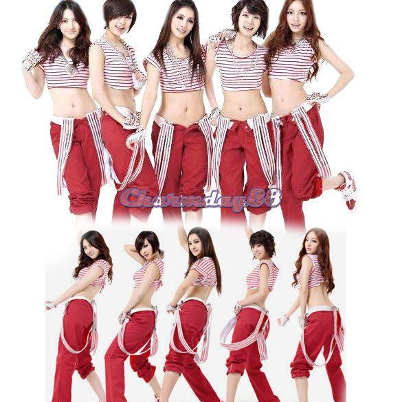 C1MY Women Sleeveless Street Dance Cheerleader Hot Dance Clothe+ Suspender Pant