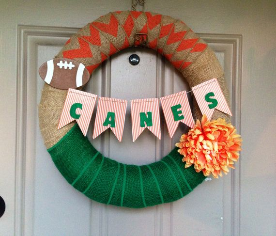 16 in Miami Hurricanes Burlap Wreath by Classicchicboutiques, $37.00