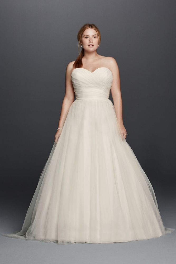Extra Length Plus Size Strapless Sweetheart Tulle Wedding Dress - White, 16W