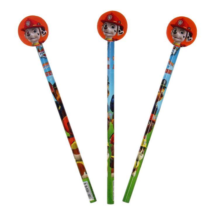 Ben jij ook helemaal gek van Paw Patrol? Maak de mooiste tekeningen met de 3 delige Paw Patrol potloden. Afmeting: lengte potlood 19 cm - Paw Patrol Potloden met Toppers, 3st.