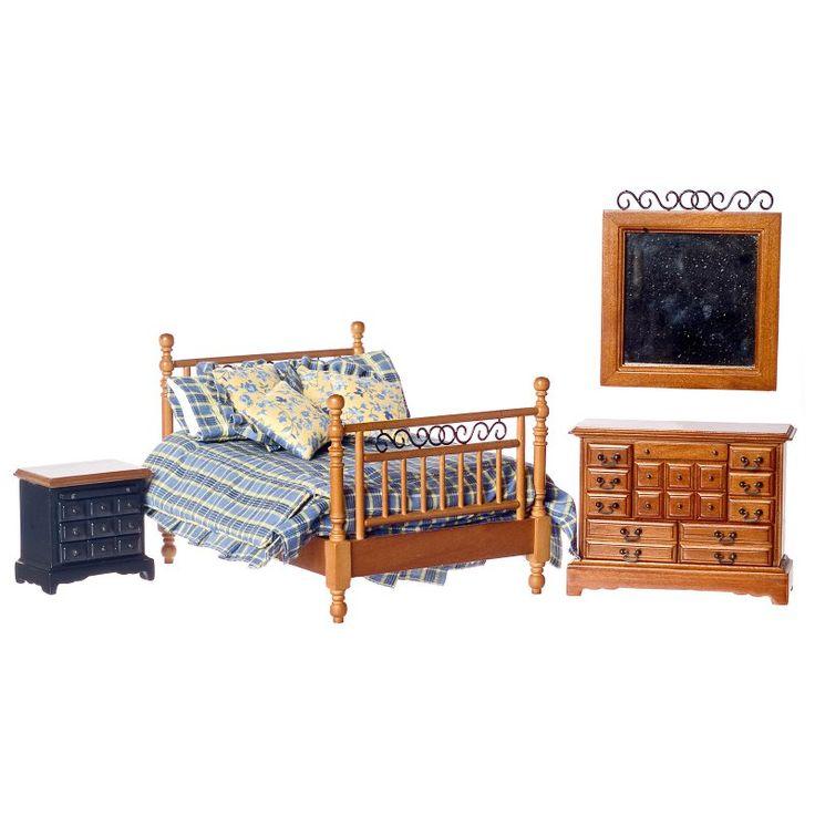 Walnut Double Bedroom Dollhouse Miniature Set - T6769