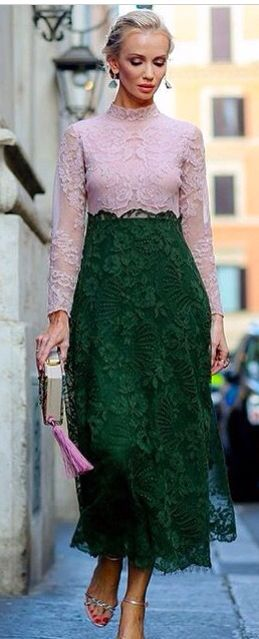 Green and pink lace
