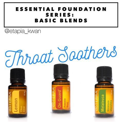 My essential foundation series is a great way to learn how to use DoTERRA's top 10 oils as part of your daily routine. Lemon, Melaleuca, and OnGuard work great at helping to soothe an irritated throat. On Guard is both numbing and soothing and has a spiciness to it due to the clove. Gargle a drop of Lemon and On Guard, or add a drop of each mixed with a spoon of honey and swallow. I've also gargled a drop of Melaleuca and/ or On Guard with warm salt water to soothe an irritated throat…