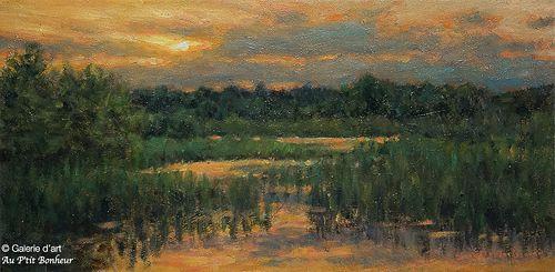 Stéphane Gagnon, 'Le marais s'endort', 10'' x 20''   Galerie d'art - Au P'tit Bonheur - Art Gallery