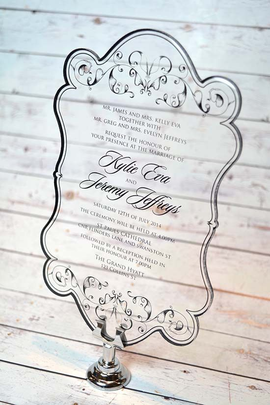 See through to my heart, and you will see through to my love.  Acrylic wedding invites from Inspired Design