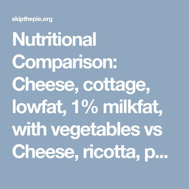 Nutritional Comparison: Cheese, cottage, lowfat, 1% milkfat, with vegetables vs Cheese, ricotta, part skim milk