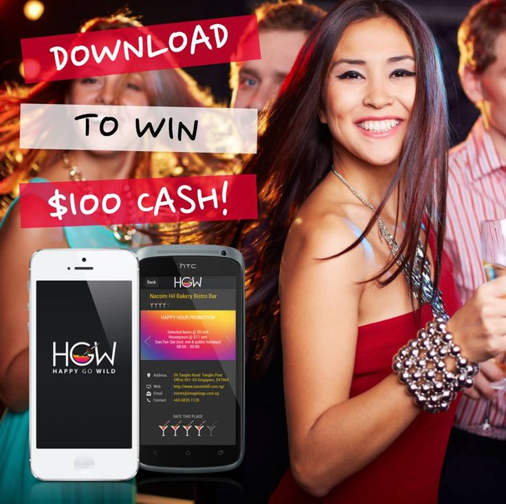 DOWNLOAD OUR APP AND WIN $100 INSTANTLY!  Step 1 : Go to your Google Play or App Store, search for Happy Go Wild and download our app. Step 2 : Login via Facebook and rate your favorite bars. Step 3 : Screen shot and comment below. Step 4 : You're done with 1 entry!  You can earn more entries by sharing this photo (1 entry) or tagging your friends via comments (3 entries).  We will randomly pick the winner next week.  JOIN NOW! BEST OF LUCK!