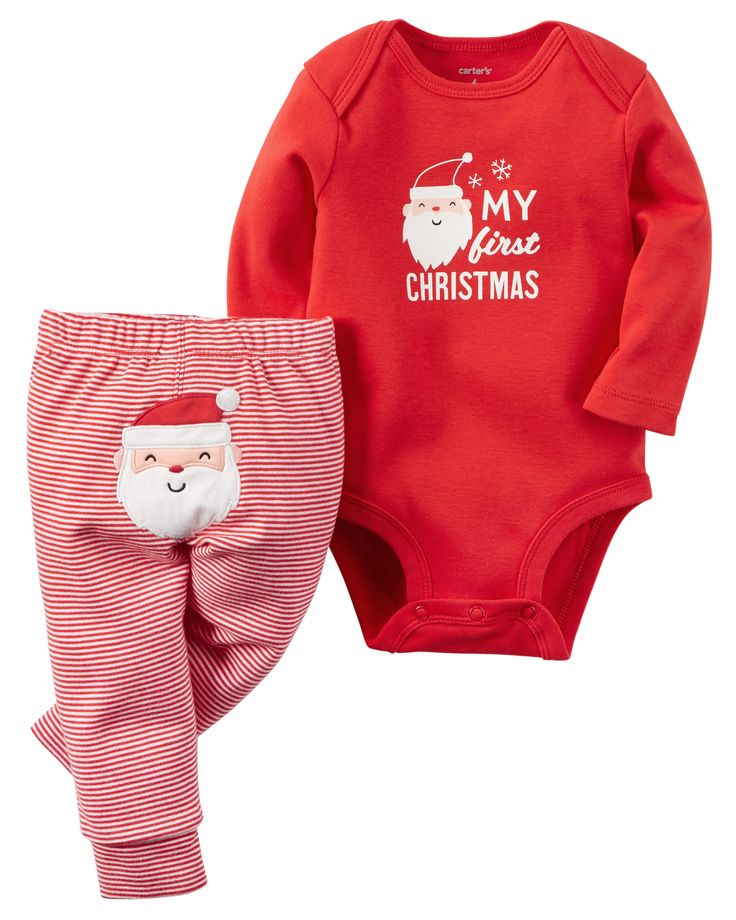 A cozy bodysuit pairs perfectly with striped leggings for your festive little one's first Christmas.