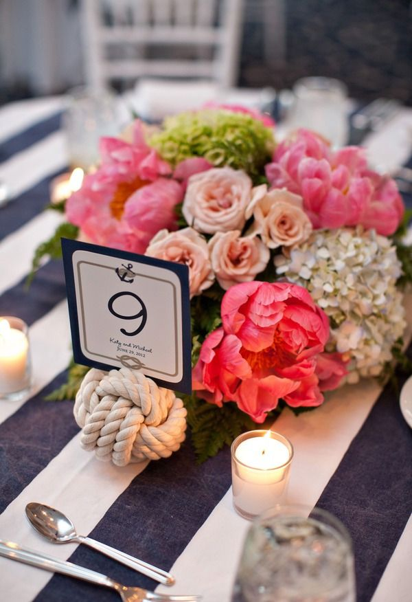 A Cape Cod Nautical Wedding loving the nautical navy white cloth with knot table number and bright florals