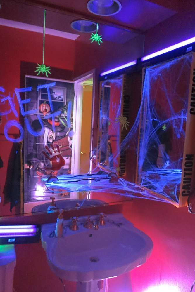 Spooky Glow In The Dark Halloween Party Halloween Party Ideas Photo 3 Of 16 Birthday Halloween Party Halloween House Party Halloween Party Decor