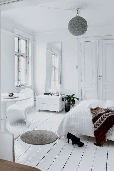 white minimal bohemian bedroom