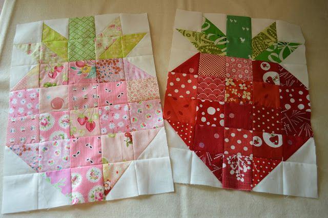 Scrappy Strawberry Quilt Blocks