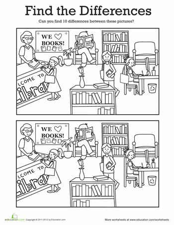 Worksheets: Find the Differences: At the Library