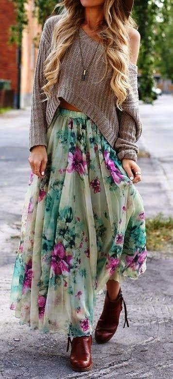 Maxi falda floral primavera