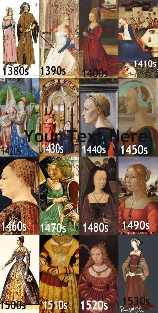 Timeline of medieval fashion. You can see how the fashion changed from the 1520s to 1530s when Anne Boleyn was rising (and subsequently falling) in favor with Henry VIII and the British court.