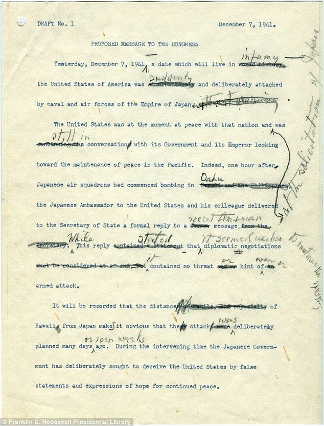 The handwritten notes FDR made to his first draft of the speech have been put on display i...