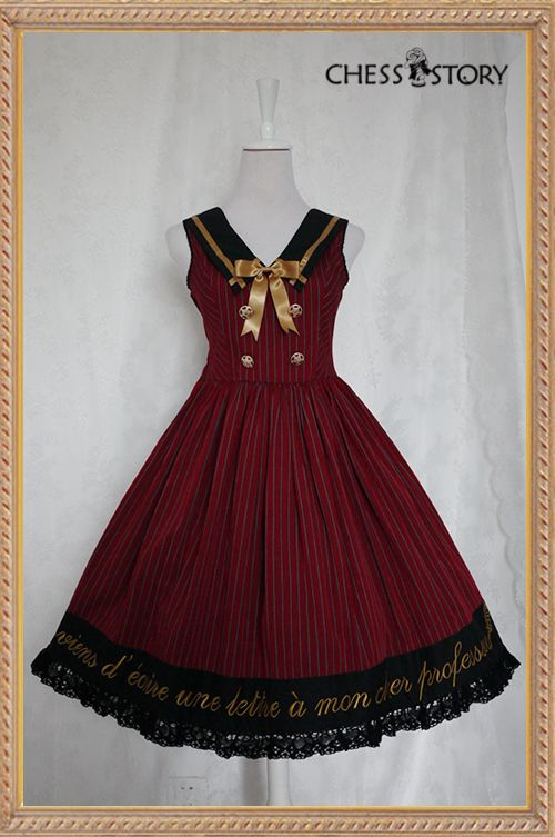 ★★★ UPDATE: Chess Story College Style Lolita Jumper Dress is NOW AVAILABLE at >>> http://www.my-lolita-dress.com/chess-story-college-school-style-wine-navy-blue-strips-lolita-op-dress-cs-67