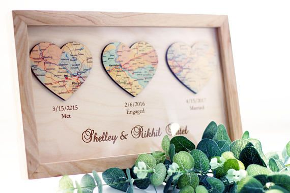 Met Engaged Married Personalized Framed Map Love Story Engagement Personalized Map Heart Art Wedding gift for Couples Engagement Gift #3