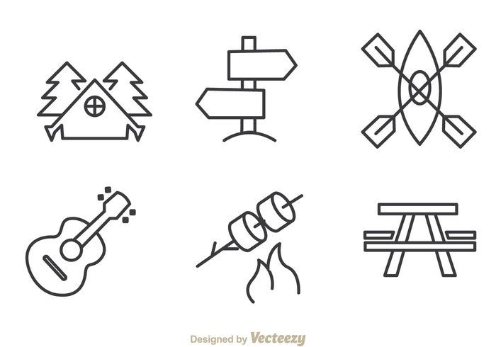 Free vector Camping And Adventure Outline Icons #20316