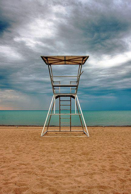lifeguard tower at Lake Huron, Ontario, Canada