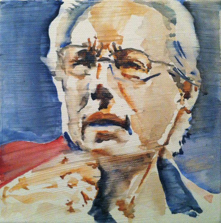 Enzo Jannacci watercolor on canvas 20x20