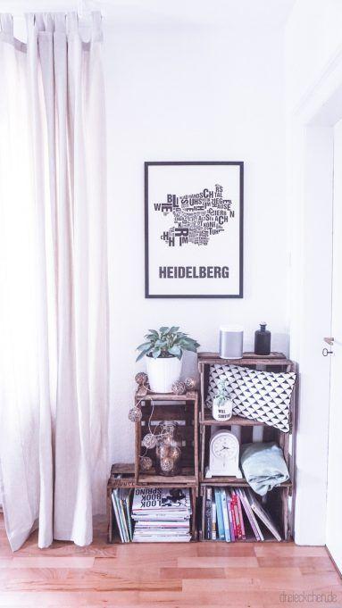Wohnzimmer Inspiration: Weinkisten Regal Mit Deko Ideen In Schwarz Weiß //  Werbung