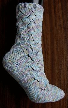 free knit sock pattern - Maizy Lace socks - corn fiber sock yarn - Crystal Palace Yarns