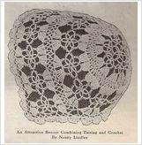 Vintage 1921 dainty BABY BONNET of COMBINED TATTING & CROCHET pattern