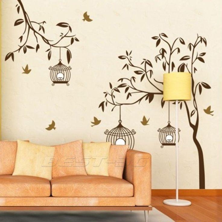 Sticker autocollant mural arbre oiseaux d co mur maison for Appliqu mural autocollant