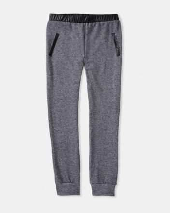 French terry pant with faux-leather trim