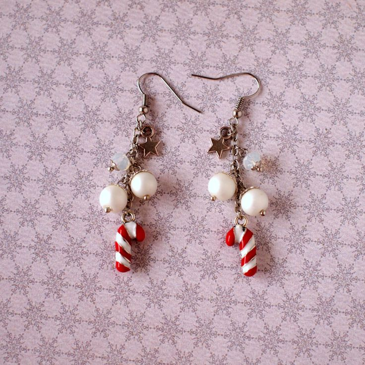 Candy cane earrings Red and white earrings Faux pearls earrings Opal beads earrings Winter earrings Xmas jewelry Winter holiday gift by AnyankasHandiworks on Etsy
