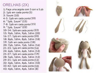 Aprendiz de Crocheteiras: Amigurumi: Coelhinha de Crochê | Ganhe Mais Círculo