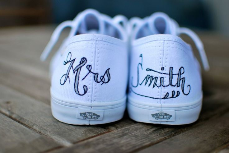 These custom VANS are hand-painted with your new name on the back. Cool idea! | via 31 Best Handmade Wedding Shoes http://emmalinebride.com/bride/handmade-wedding-shoes/