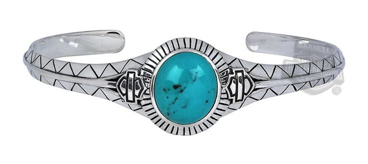 Harley Jewelry For Women Hdb0303 Harley Davidson 174 Womens 925 Silver Turquoise Cuff Bracelet