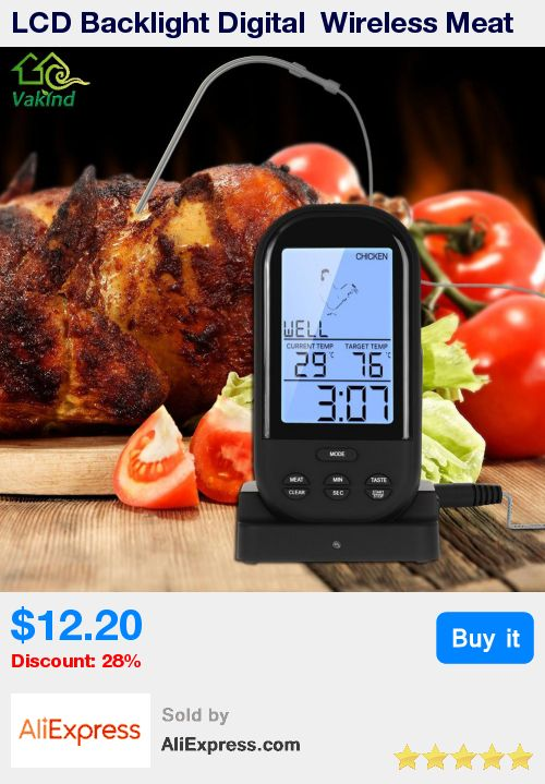 LCD Backlight Digital  Wireless Meat Thermometer Remote Kitchen Oven Food Cooking Meat BBQ Thermometer Kitchen Accessories  * Pub Date: 15:02 Apr 1 2017