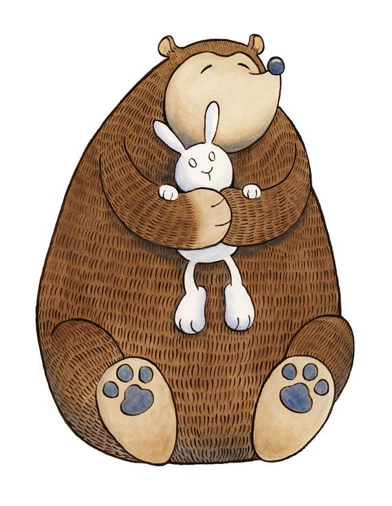 Bear Hug Bunny Art Print by SepiaLepus on Etsy, $19.00