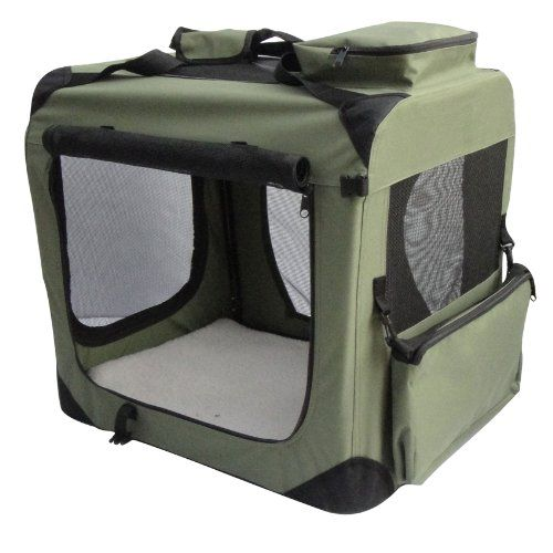"EliteField Sage Green 24"" 3-Door Soft Dog Crate, 24"" long x 18"" wide x 21"" high - http://www.thepuppy.org/elitefield-sage-green-24-3-door-soft-dog-crate-24-long-x-18-wide-x-21-high/"